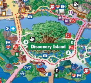 Detalhe do mapa do Animal Kingdom com identificação do Baby Center