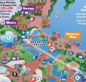 Detalhe do mapa do Epcot com identificação do Baby Center