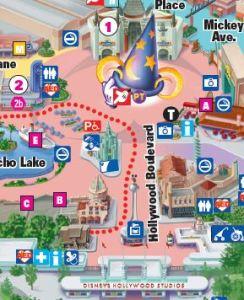 Detalhe do mapa do Hollywood Studios com identificação do Baby Center