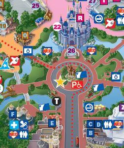 Detalhe do mapa do Magic Kingdom